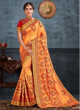 Orange Silk Ceremonial Trendy Saree