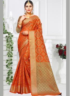 Orange Silk Party Classic Saree
