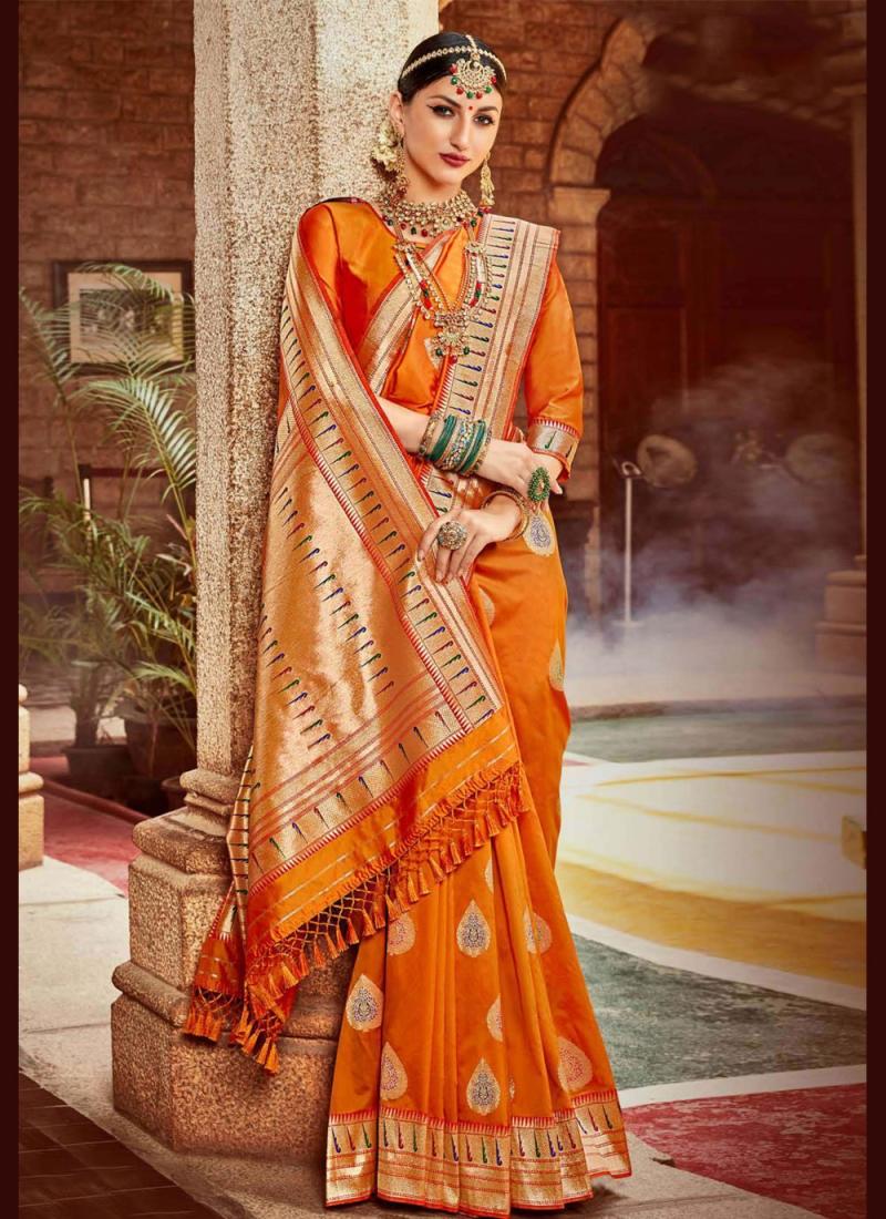 Orange Silk Weaving Traditional Saree