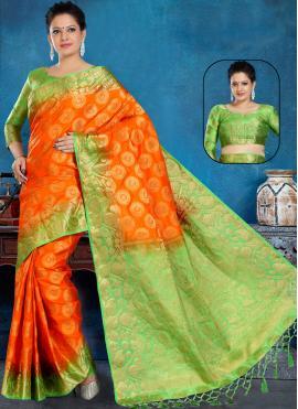 Orange Weaving Festival Contemporary Saree