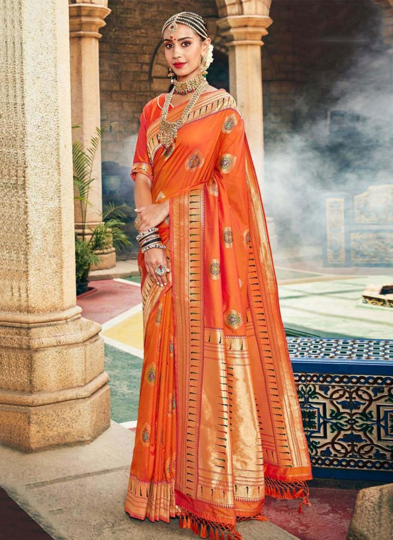 Orange Weaving Festival Traditional Designer Saree