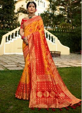Orange Weaving Party Trendy Saree