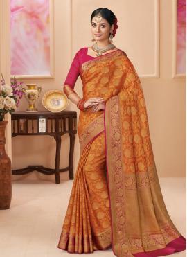 Orange Weaving Silk Classic Saree