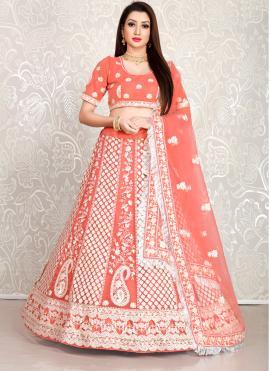 Orange Wedding Net Lehenga Choli