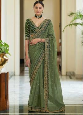 Organza Dori Work Classic Saree in Green