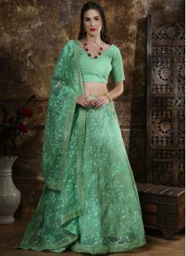 Organza Sea Green Lace Lehenga Choli