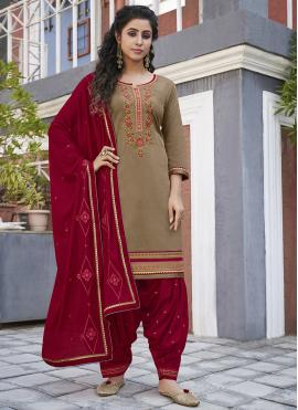 Orphic Beige Embroidered Designer Patiala Suit