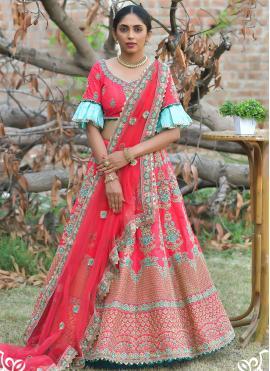 Orphic Embroidered Pashnima Silk Rose Pink Lehenga Choli