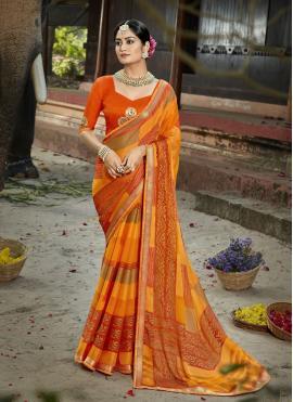 Orphic Faux Chiffon Multi Colour Printed Saree