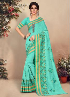 Outstanding Cotton Floral Print Green Traditional Saree