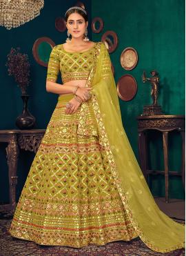 Outstanding Embroidered Faux Georgette Mustard Lehenga Choli