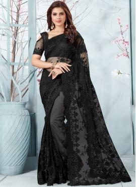 Outstanding Net Embroidered Designer Traditional Saree