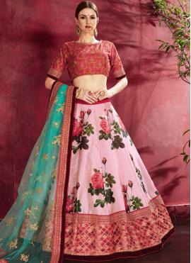 Outstanding Pink Floral Print A Line Lehenga Choli