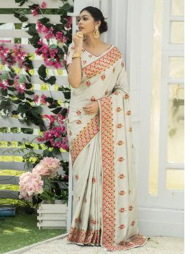 Outstanding Silk Embroidered Off White Traditional Designer Saree