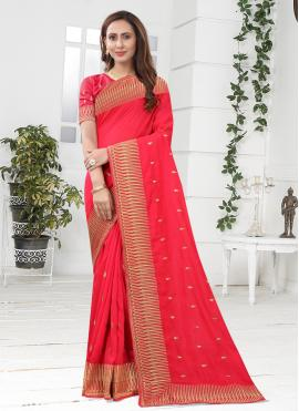 Outstanding Silk Pink Patch Border Designer Saree