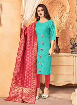 Pant Style Suit Embroidered Handloom Cotton in Sea Green