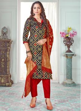Pant Style Suit Woven Art Banarasi Silk in Navy Blue