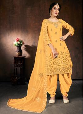 Paramount Embroidered Yellow Cotton Designer Patiala Suit