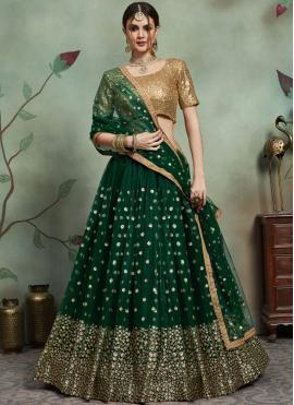 Paramount Green Net Trendy Lehenga Choli