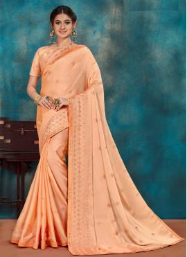 Paramount Peach Embroidered Poly Silk Traditional Designer Saree
