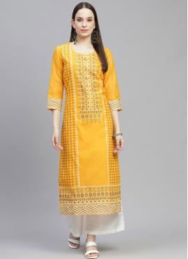 Party Wear Kurti Fancy Chanderi in Yellow
