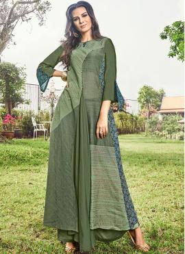 Party Wear Kurti Print Fancy Fabric in Green