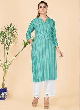 Party Wear Kurti Print Rayon in Sea Green