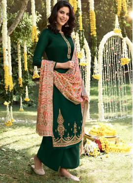 Pashmina Palazzo Salwar Suit in Green