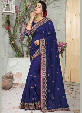 Patch Border Art Silk Designer Traditional Saree in Blue