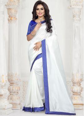 Patch Border Art Silk Saree in White