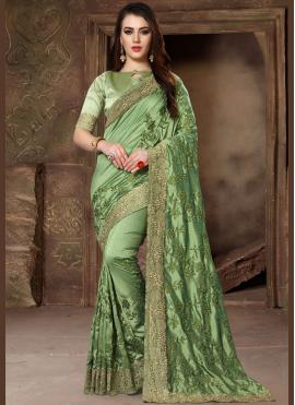 Patch Border Art Silk Traditional Designer Saree in Green