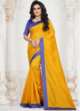 Patch Border Art Silk Traditional Saree in Mustard