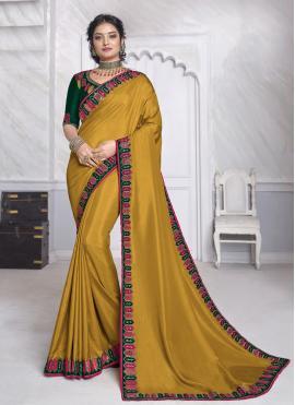 Patch Border Silk Classic Designer Saree in Mustard