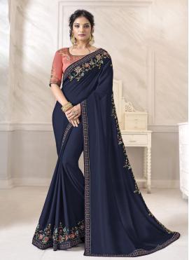 Patch Border Silk Designer Saree in Navy Blue