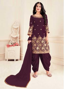 Patiala Suit Embroidered Silk in Wine