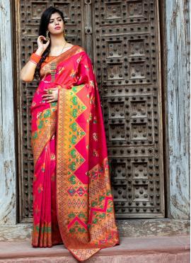 Patola Silk  Classic Saree in Pink