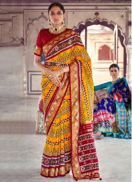 Patola Silk  Multi Colour Fancy Designer Saree
