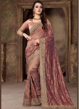 Peach Art Silk Wedding Classic Designer Saree