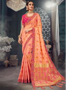 Peach Bhagalpuri Silk Wedding Classic Saree