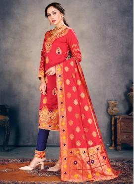 Peach Ceremonial Banarasi Silk Pant Style Suit