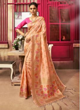 Peach Ceremonial Classic Designer Saree