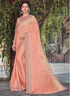 Peach Ceremonial Satin Silk Designer Saree