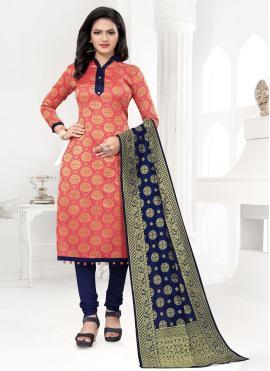 Peach Color Churidar Designer Suit