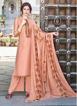 Peach Cotton Silk Designer Palazzo Salwar Kameez