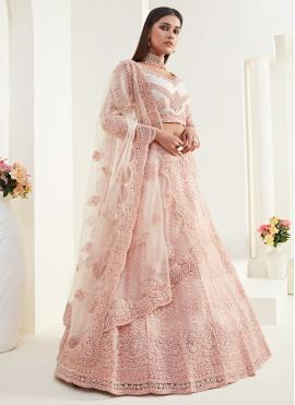 Peach Engagement Net Designer Lehenga Choli