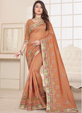 Peach Fancy Fabric Embroidered Classic Designer Saree