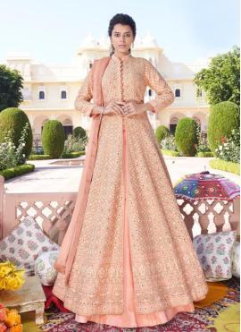 Peach Faux Georgette Readymade Anarkali Salwar Suit