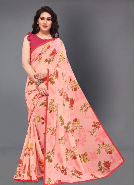 Peach Floral Print Festival Trendy Saree