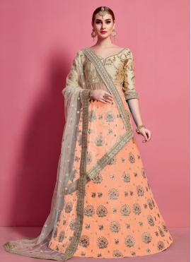 Peach Lace Art Silk A Line Lehenga Choli