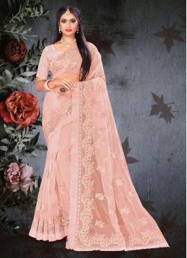 Peach Net Mehndi Designer Saree